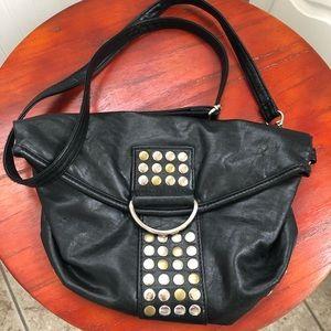 Chateau Black Studded Vegan Leather Crossbody Bag